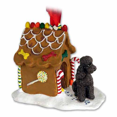Poodle Gingerbread House Christmas Ornament Chocolate Sport Cut