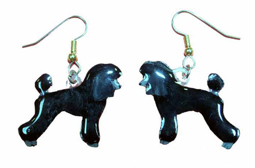 Poodle Earrings Black Sport Cut Hand Painted Acrylic