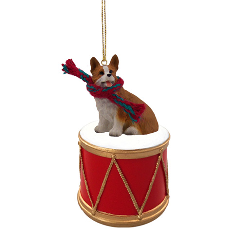 Little Drummer Corgi Christmas Ornament