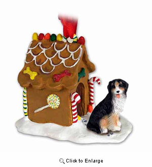 Bernese Mountain Dog Gingerbread House Christmas Ornament