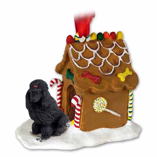 Poodle Gingerbread House Christmas Ornament Black