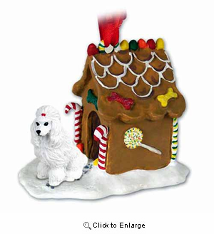 Poodle Gingerbread House Christmas Ornament White