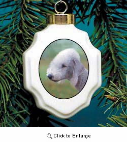 Bedlington Terrier Christmas Ornament Porcelain