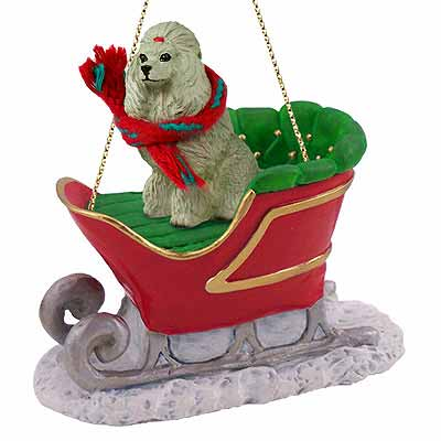 Poodle Sleigh Ride Christmas Ornament Gray