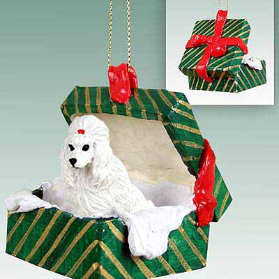 Poodle Gift Box Christmas Ornament White