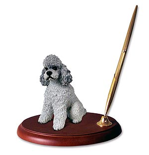 Poodle Pen Holder (Gray Sport cut)