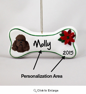 Poodle Personalized Dog Bone Christmas Ornament Chocolate Sport Cut
