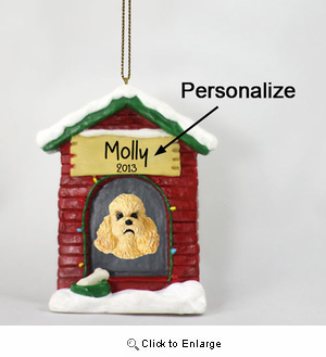 Poodle Personalized Dog House Christmas Ornament Apricot Sport Cut