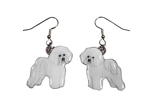 Bichon Frise Earrings Hand Painted Acrylic