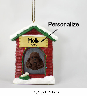 Poodle Personalized Dog House Christmas Ornament Chocolate Sport Cut