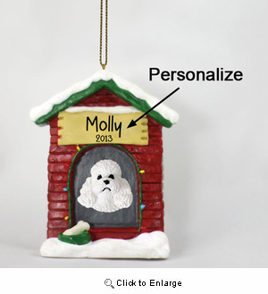 Poodle Personalized Dog House Christmas Ornament White