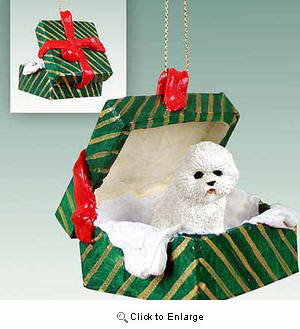 Bichon Frise Gift Box Christmas Ornament