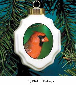 Cardinal Christmas Ornament Porcelain