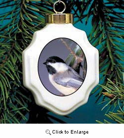 Chickadee Christmas Ornament Porcelain