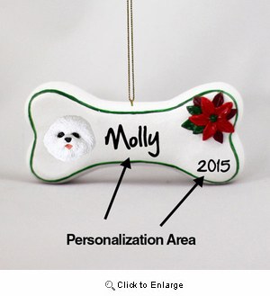 Bichon Frise Personalized Dog Bone Christmas Ornament