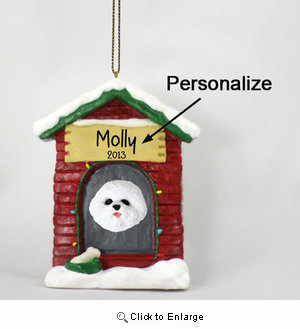Bichon Frise Personalized Dog House Christmas Ornament