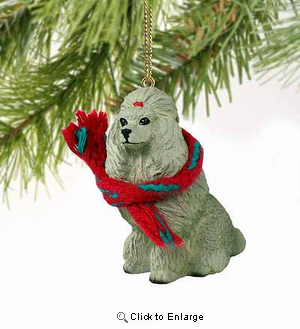 Poodle Tiny One Christmas Ornament Gray