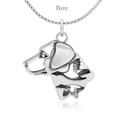 Sterling Silver Labrador Retriever W/Ducks Head Necklace