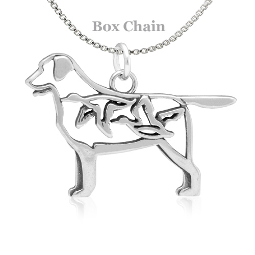Sterling Silver Labrador Retriever W/Ducks Body Necklace