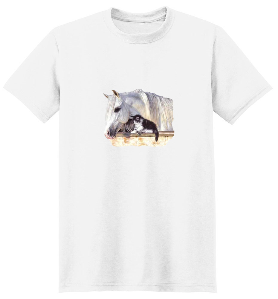 White Horse T-Shirt - With Kitten