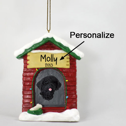 Portuguese Water Dog Personalized Dog House Christmas Ornament