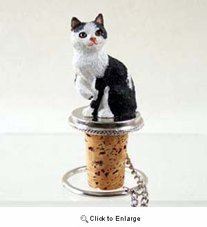 Black and White Cat Bottle Stopper