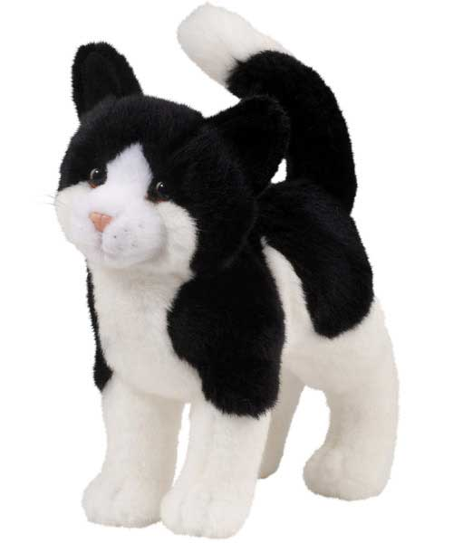 Black And White Cat Plush Stuffed Animal 12 Inch