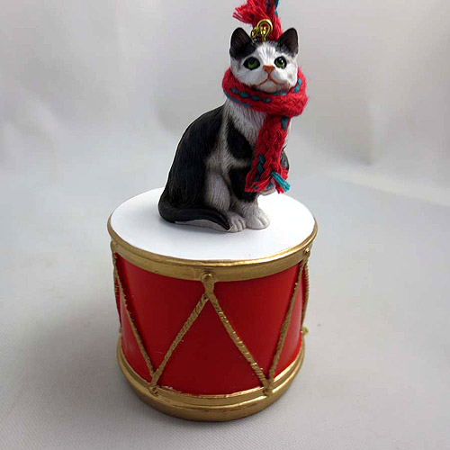 Little Drummer Black & White Cat Christmas Ornament