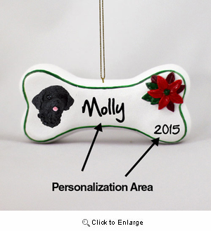 Portuguese Water Dog Personalized Dog Bone Christmas Ornament