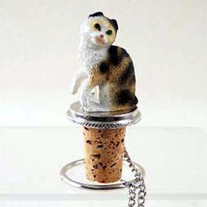 Scottish Fold Cat Bottle Stopper (Tortoise)