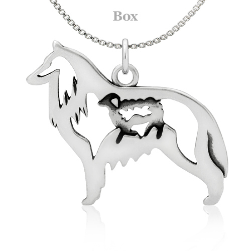 Sterling Silver Belgian Sheepdog W/Sheep Necklace