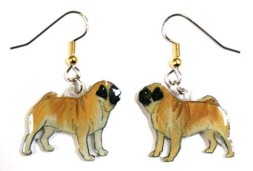 Pug Earrings Fawn Hand Painted Acrylic