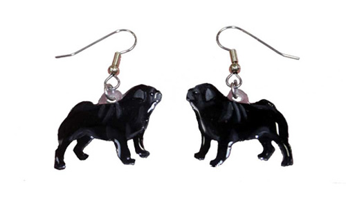 Pug Earrings Black Hand Painted Acrylic