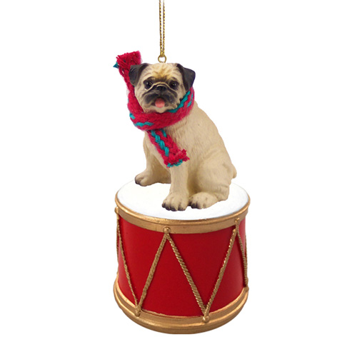 Little Drummer Pug Christmas Ornament