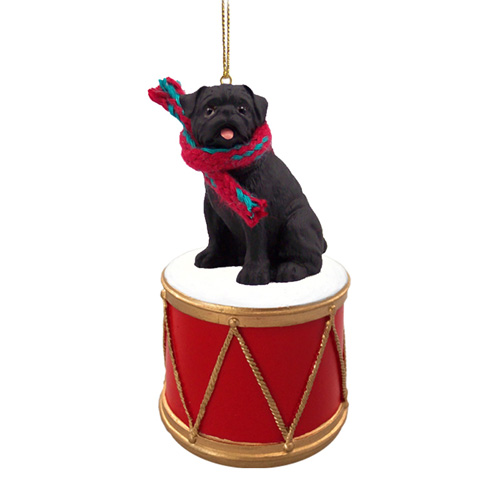 Little Drummer Pug Black Christmas Ornament