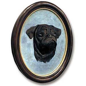 Pug Sculptured Portrait Black