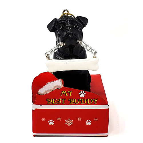 My Best Buddy Pug Black Christmas Ornament