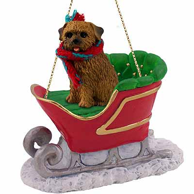 Norfolk Terrier Sleigh Ride Christmas Ornament