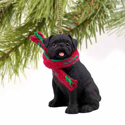 Pug Tiny One Christmas Ornament Black