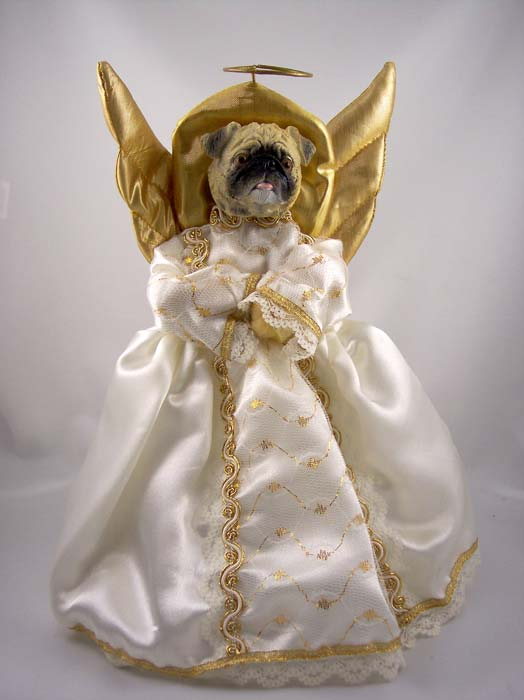 Pug Angel Christmas Tree Topper