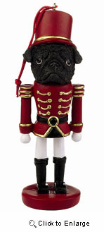 Pug Ornament Nutcracker (Black)