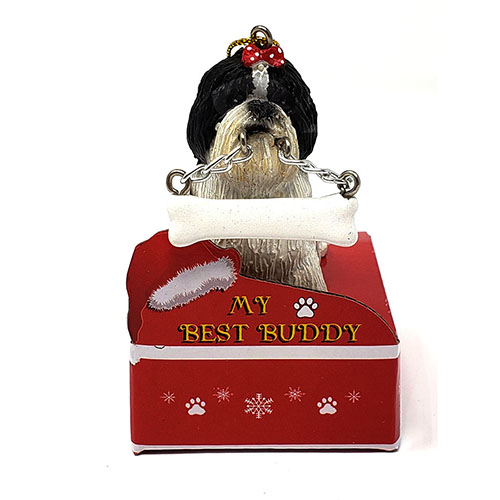 My Best Buddy Black Shih Tzu Christmas Ornament