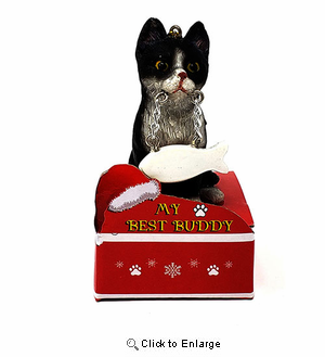 My Best Friend Black and White Cat Christmas Ornament