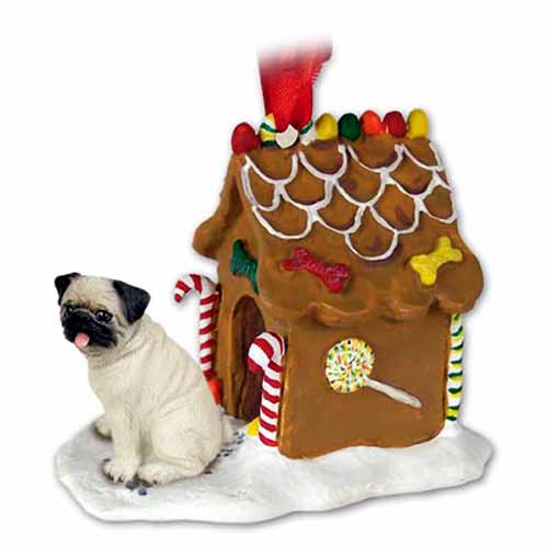 Pug Gingerbread House Christmas Ornament Fawn