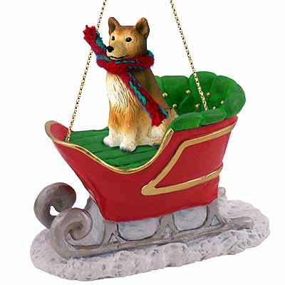 Finnish Spitz Sleigh Ride Christmas Ornament