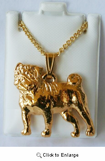 Pug 24K Gold Plated Pendant with Necklace