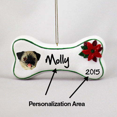 Pug Personalized Dog Bone Christmas Ornament