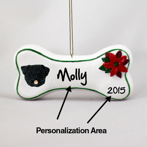 Pug Personalized Dog Bone Christmas Ornament Black