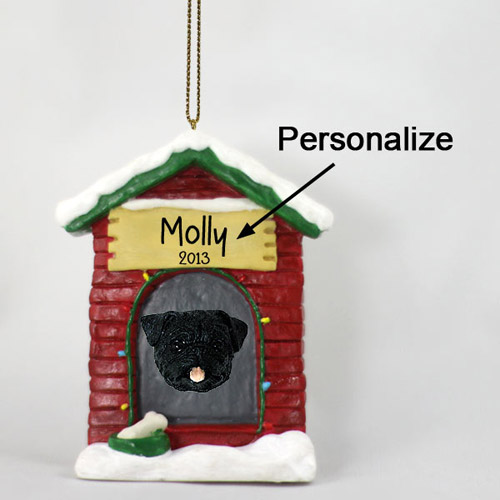 Pug Personalized Dog House Christmas Ornament Black