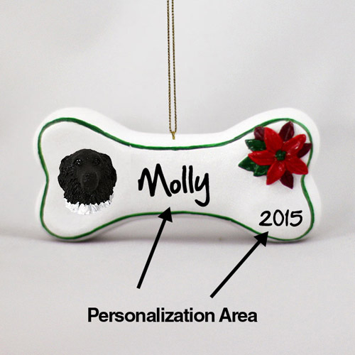 Newfoundland Personalized Dog Bone Christmas Ornament Landseer